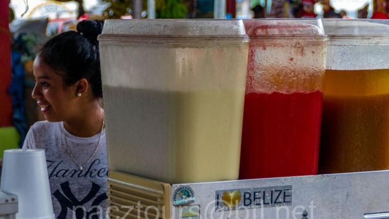 San IGnacio market buying juice