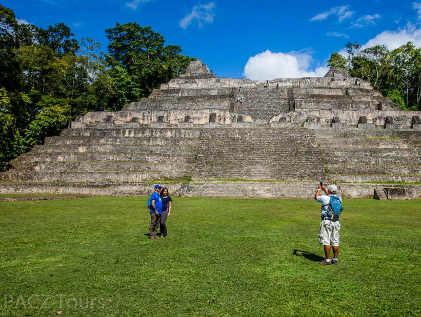 couple at Caracol largest temple