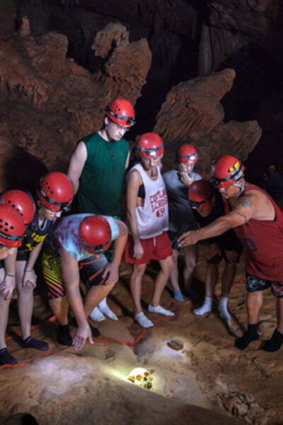 giuded group in cave